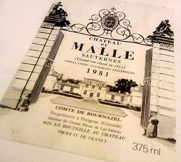 Viinipullon etiketti Chateau de Malle, Viinihetki
