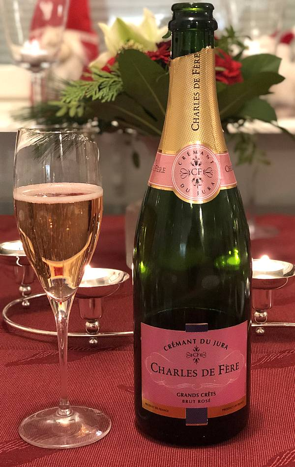 Kuohuviini Charles de Fere Crémant du Jura Rosé Brut, Joulupäivän menu 2020, Viinihetki