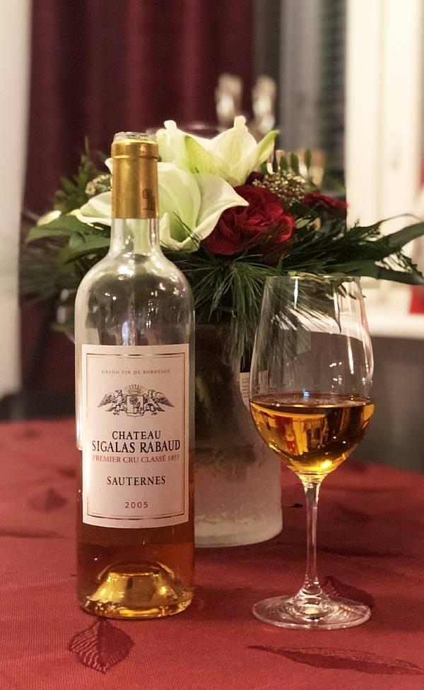 Makea valkoviini Chateau Sigalas-Rabaud 2005, Joulupäivän menu 2020, Viinihetki