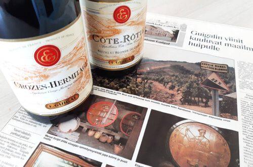 Rhonen alueen punaviinit Guigal Cote-Rotie ja Crozes-Hermitage. Viinihetki