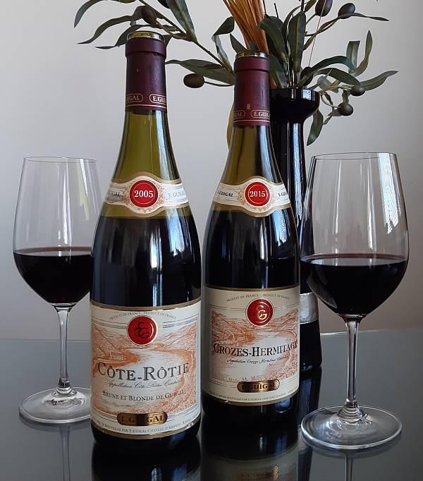 Rhonen alueen punaviinit Guigal Côte-Rôtie Brune et Blonde 2005 ja  Guigal Crozes-Hermitage 2015
