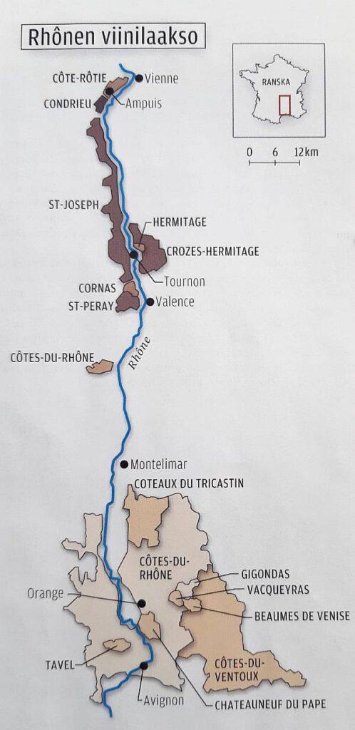 Rhonen viinialue Ranskassa, kartta. Viinihetki